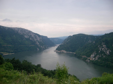 Narrowest point of the Kazan gorge, the so called Iron Gates of the Danube river between Serbia and Romania